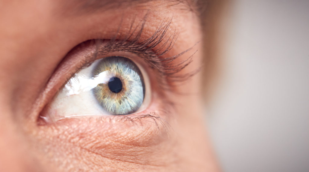 Extreme Close Up Of Eye Of Woman Against White Studio Background